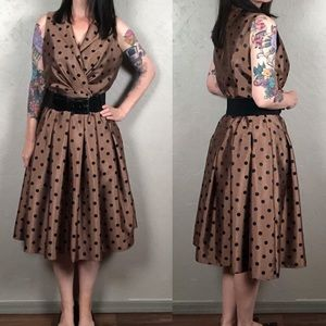 Vintage 1950s Inspired  Polka Dot Party Dress